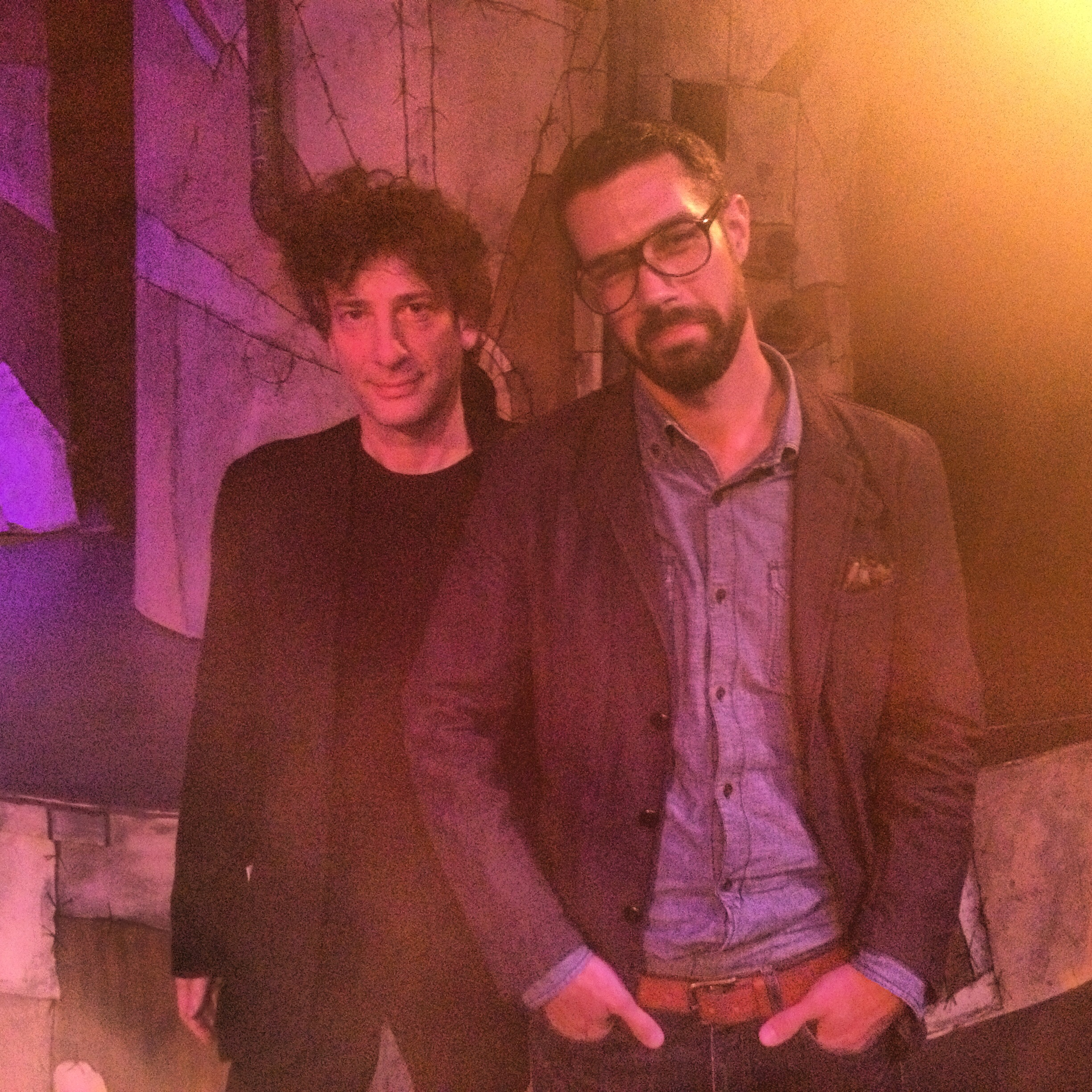 "Neil Gaiman and Michael James Schneider, on the set of ""Neverwhere"""